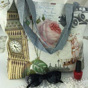 Handbags - NEW Paris and floral pattern tote bag